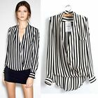 Fashion Western Women Long Sleeve Chiffon Striped Printed T-shirt Top Blouse