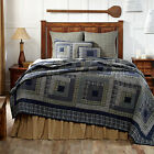 Columbus Country Patchwork Quilt Hand Stitched Log Cabin Blue Plaid Cotton image