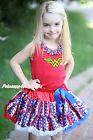 Wonder Super Hero Girl Red Top Shirt Stripe Star Skirt Clothing Outfit Set 1-8Y