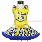 Beauty Milk Cow Cowgirl Dairy Cattle Skirt Yellow Top Shirt Girl Cloth Set 1-8Y