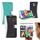 Leather Mirror Flip Metal Strap Wallet Case Cover For Samsung Galaxy S5 i9600
