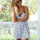 1PC Sexy Women Black And White Striped V Neck Strap Backless Loose Dress Cheap