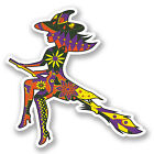 2 x Witch on Broomstick Vinyl Decal Sticker Tablet Laptop Car Window Fun #5607