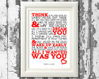 Paramore All I Wanted Song Lyrics Wall Art Typography Poster Print Design