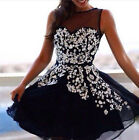 2015 Short Ball Prom Black Embroidery Party Cocktail Graduation Gown Dress CHEAP