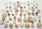 Mixed 50PCS Lot Rhinestone Crystal brooch button bridal wedding bouquet  DIY