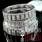 REAL SILVER BRIDE GROOM ENGAGEMENT WEDDING RING 14K WHITE GOLD FINISH TRIO SET