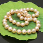 s272 New 9-10mm 10-11mm 11-12mm white pink black off round water pearl Necklace