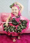 Valentine Hot Pink Heart Camouflage Top Pettiskirt Skirt Girl Cloth Outfit 1-8Y