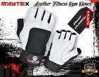 LEATHER GYM  WEIGHT LIFTING GLOVES  Wrist Support WHITE COWHIDE LEATHER MAYTEX