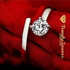 Women Men 925 Sterling Silver Plated  Adjustable Wedding Engagement Rings Gift