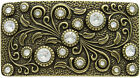 Decorative Antique Rectangle with Crystals Engraved Belt Buckle