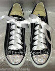 Customised Black Crystal Diamante Bling Converse All Star Lo Ribbon Laces UK 3-7