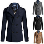 Mens Double Breasted Winter Wool Coat Jacket Trench Pea Coat Overcoat Size S M L