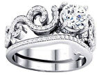 2 pc 2.65 Ct AAA CZ Real 925 Silver Wedding Engagement Ring Women's sz 4-11.5