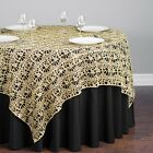 "CHEMICAL LACE TABLE OVERLAY 54"" X 54"" SQUARE TABLECLOTH SEQUIN COVER **SALE**"