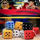 New Pair Home office Car Truck Rear View Mirror Soft Plush Fuzzy Hanging Dice