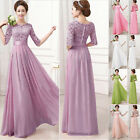 2015 Lace Chiffon Long Maxi Bridesmaid Formal Ball Gown Evening Prom Party Dress