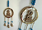 Buddha Brass Windchime - Wall Hanging with Bells and Coloured Beads