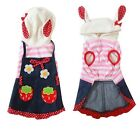 Strawberry Denim Dress Skirt Striped Hoodie Coat Puppy Small Dog Clothes Pink
