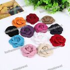 20pcs pick 12color Suede Carnation cabbage flower corsage Sewing Appliques New