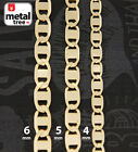 Men's Women's 14k Yellow Gold Plated Width 4 5 6mm Valentino Link Chain Necklace image