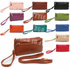 Ladies Small Double Zip Cross Body Bag Purse Wallet
