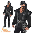 Adult Dark Sea Scoundrel Pirate Costume Mens Fancy Dress Black Beard Outfit New
