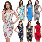 Vintage Style Floral Bodycon Formal Party Evening Pencil Midi PROM Office Dress