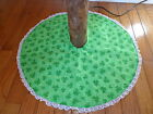 """St. Patrick's Day Holiday Shamrock Tabletop Tree Skirt 22"""" Handcrafted"""