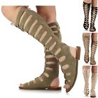 Ladies Women Flat Cut Out Lace Up Knee High Gladiator Sandals Boots Shoes