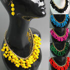 Bib Necklace and Earrings Set Felt Bead Gold Chain Chunky Statement Collar Balls