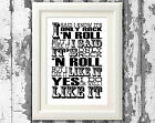 Rolling Stones Only Rock n Roll Lyric Posters Lyric Music Art Typography Print