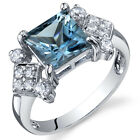 Princess Cut 2.00 cts London Blue Topaz CZ Ring Sterling Silver Sizes 5 to 9