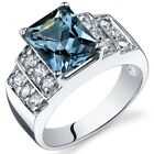 Radiant Cut 2.50 cts London Blue Topaz CZ Ring Sterling Silver Sizes 5 to 9
