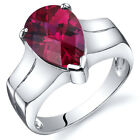 Brilliant 3.75 cts Ruby Solitaire Ring Sterling Silver Sizes 5 to 9