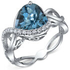3.00 cts Heart Shape London Blue Topaz Ring Sterling Silver Size 5 to 9