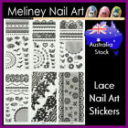 Long Lace Sheet nail art stickers Transfer black white flowers french tips