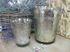 SILVER GLASS VASE / CANDLE HOLDER Vintage, Antique Style, Two Sizes GORGEOUS!