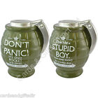 Dad's Army Stupid Boy or Don't Panic Grenade Shaped Money Bank Pot Savings Coins