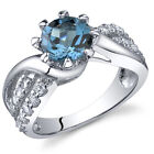 Regal Helix 1.50 cts London Blue Topaz Ring Sterling Silver Size 5 to 9