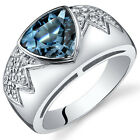 Glam Trillion Cut 2.00 ct London Blue Topaz CZ Ring Sterling Silver Size 5 to 9