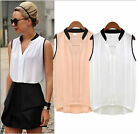 Womens Loose Chiffon Sleeveless Vest Shirt Tops Blouse Low-cost Gift for Lovers