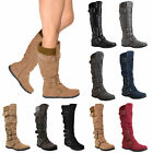 Womens Flat Strappy Faux Suede Ribbed Knit Collar Knee High Boots Black