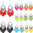 1Pair Women's Fashion Chic Rhinestone Dangle Hook Tassel Earring Ear Stud Beauty
