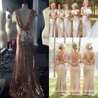 Sequin Long Bridesmaid Dresses Plus Size Formal Wedding Party Prom Evening Gowns
