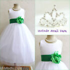 Adorable White/kelly emerald green flower girl dress FREE SMALL TIARA all sizes