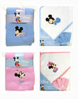 Disney Baby 3pc Set Mickey Minnie Fleece Throw Blanket Hooded Towel w/ Washcloth