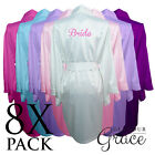8 PACK Bridal Wedding Bride Bridesmaid Dressing Gowns Satin Robes Personalised