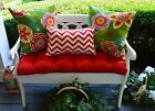 Red Tufted Cushion & Floral, Chevron Pillows for Bench~Swing~Glider, Choose Size
